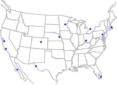 Blue stars indicate locations of CSii distributors.